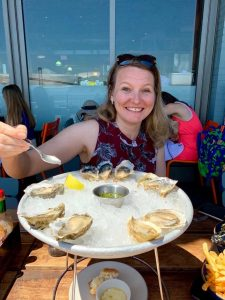 Dawn eating oysters in San Francisco - June 2019